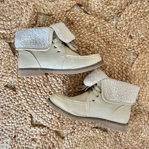 Shoes - Unbranded | Cream Faux Leather Ankle Booties